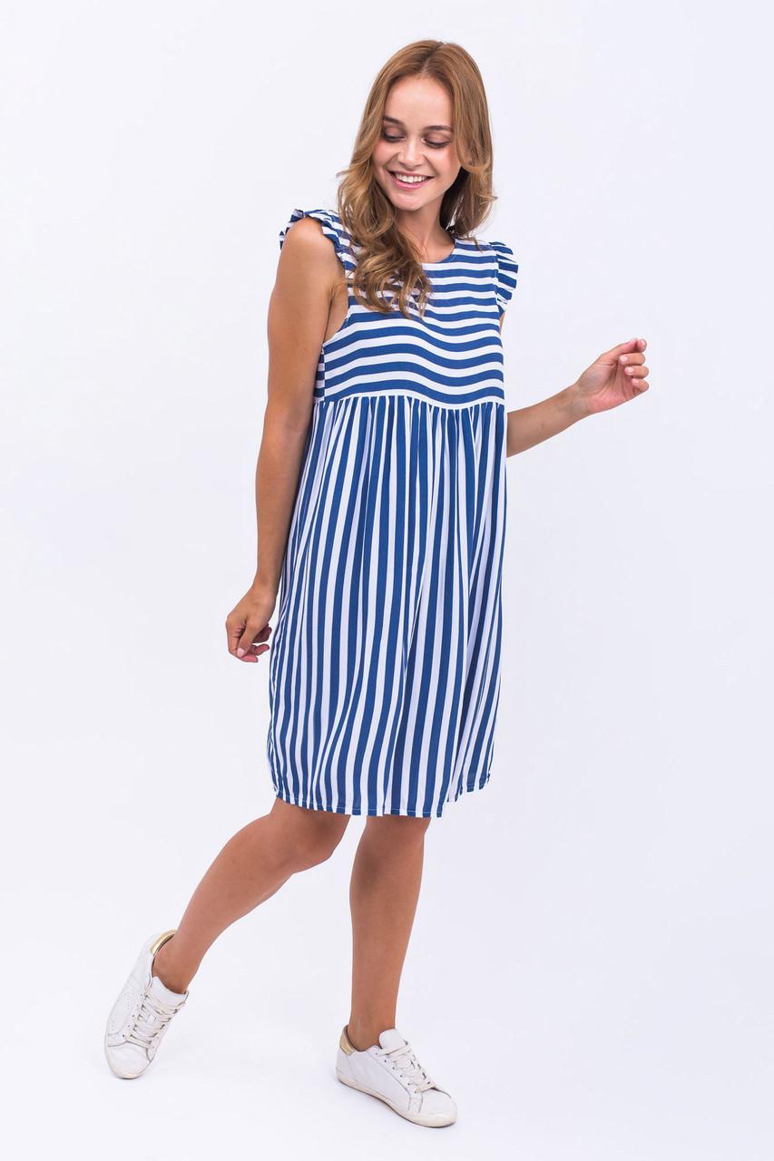 Платье широкая полоска LUREX - синий цвет, L (есть размеры)