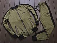 Мужской спортивный костюм Adidas (khaki/black), черно-зеленый спортивный комплект Адидас (Реплика ААА)