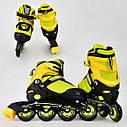Детские роликовые коньки желтые 8902 М Best Roller размер 35-38 полиуретановые колеса, фото 2