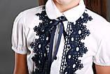 Блузка з чорним мереживом ТМ Моне колір білий р. 152, 158, фото 3