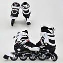 Детские роликовые коньки белые 9001 S Best Roller размер 31-34 полиуретановые колеса, фото 2