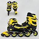 Детские роликовые коньки желтые 9001 S Best Roller размер 31-34 полиуретановые колеса, фото 2