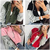 Куртка (джинс+трикотаж) красная, чёрная, розовая, хаки