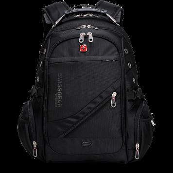 Городской эргономичный рюкзак Swissgear 8810 Original с дождевиком и USB Black