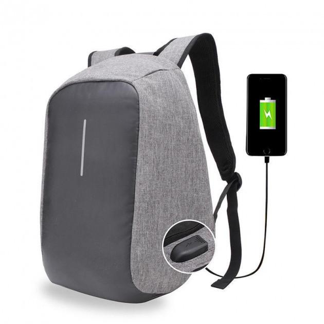 Рюкзак BOBBY антивор, с защитой, с USB, Серый