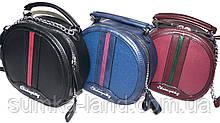 Женские круглые клатчи через плечо на ремешке с цепочкой 19*18 см (черный, синий, бордо)