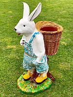 """Садова фігура """"Заєць з кошиком"""" H - 82см"""