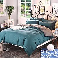Комплект постельного белья  Однотонный Аквамарин + Серый микс, поплин Lux, разные размеры полуторный