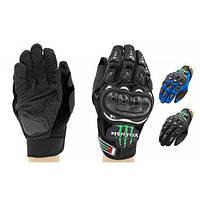 Мотоперчатки текстильные с закрытыми пальцами и протектором MONSTER Energy (р-р L-XL) PM-53