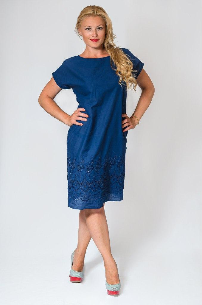 Синее котоновое платье 8027