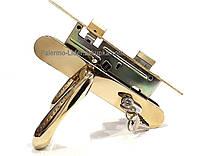 Замок врезной  комплект (замок + ручка + цилиндр) для деревянных дверей (Бексит 72 мм.) Золото