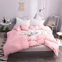 Однотонный комплект постельного белья микс Розовый и белоснежный  Rose & White, поплин Lux, разные размеры семейный