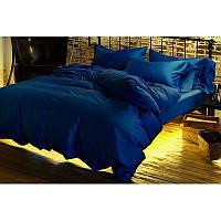 Однотонное постельное белье  из сатина Классический синий BLUE, разные размеры