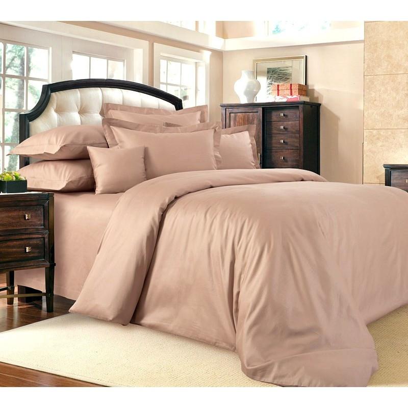 Однотонное постельное белье  Пудра, сатин, разные размеры