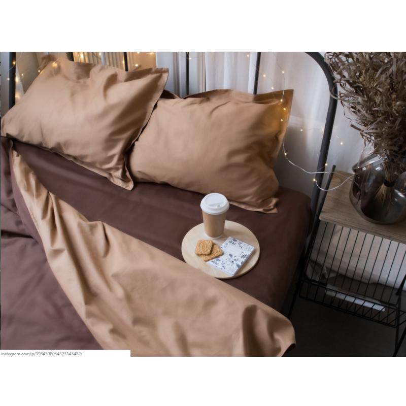 Однотонное постельное белье Сатин  Микс  шоколад и пудра,  разные размеры