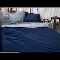 Однотонное постельное белье Сатин  Микс Синий и Светло серый, разные размеры