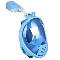 Детская маска для дайвинга снорклинга Free Easybreath для подводного плавания c креплением для камеры GoPro голубая XS