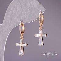 Серьги Xuping Крестики с белыми камнями 28х11мм позолота 18к