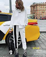 Костюм женский спортивный, прогулочный, с капюшоном и широкими лампасами, спортивный, стильный, черный, белый