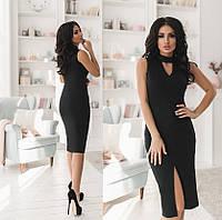 Платье с разрезом, черный