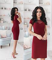 Платье с сеткой на груди, бордовый