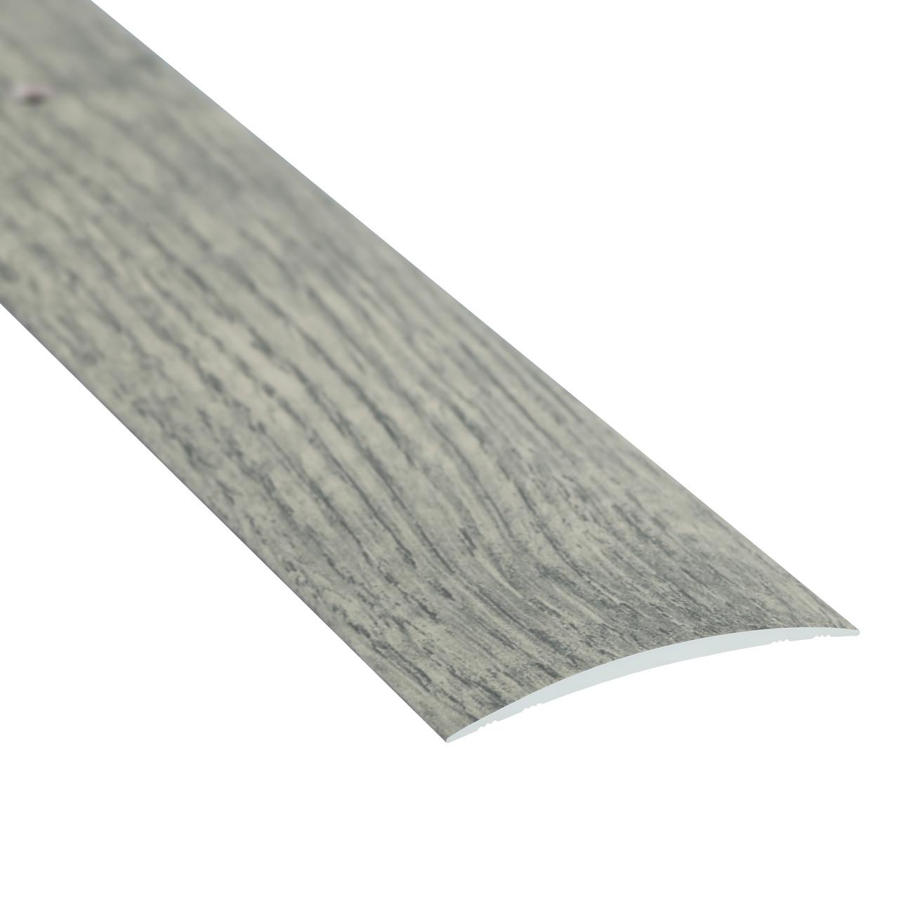 Алюминиевый профиль одноуровневый гладкий декорированный 40мм х 1.8м дуб дымчатый