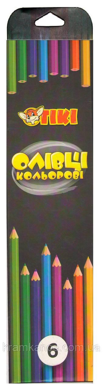 Олівці кольорові 6шт TIKI 51617-TK