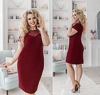 Батальное платье с сеткой на груди, бордовый