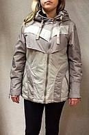 Куртка женская большого размера бежевая с капюшоном