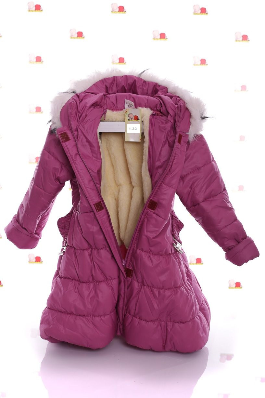 Детское зимнее пальто для девочки с мехом