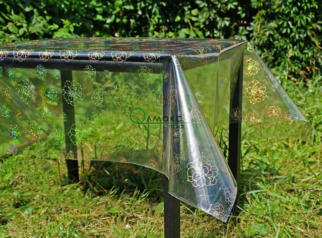Клеенка силиконовая на стол с голограммой, прозрачное покрытие с нежным цветочным рисунком, фото 2