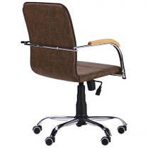 Крісло офісне Самба-RC хром Tilt підлокітники бук, шкірозамінник WAХ Coffe без канта (AMF-ТМ), фото 3