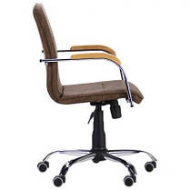 Крісло офісне Самба-RC хром Tilt підлокітники бук, шкірозамінник WAХ Coffe без канта (AMF-ТМ), фото 2
