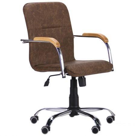Крісло офісне Самба-RC хром Tilt підлокітники бук, шкірозамінник WAХ Coffe без канта (AMF-ТМ)