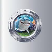 """Наклейка виниловая на стену """"Акула"""" - диаметр наклейки 43см"""