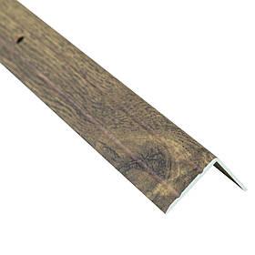 Алюминиевый лестничный профиль рифленый декорированный 24.5мм х 20мм х 2.7м дуб рустикал