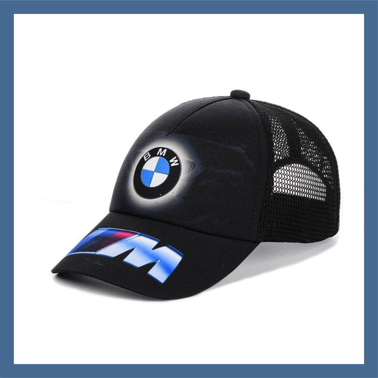 """Кепка- бейсболка """"BMW"""" с черной сеткой"""