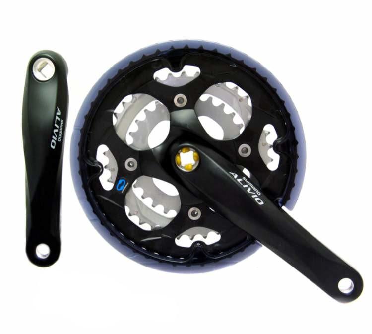 Шатуны Shimano FC-M411 Alivio, 170мм, 42x32x22 под квадрат, черные (404100)