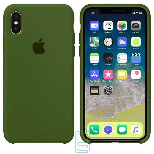 Чехол Silicone Case Apple iPhone X. XS темно-зеленый 45