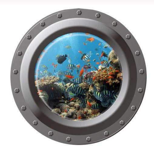 """Наклейка """"Подводный мир"""" окно каюты - диаметр наклейки 43см"""