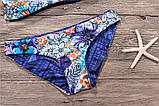 Купальник женский раздельный двухсторонний хай-нек с цветочным принтом, размер М, фото 10