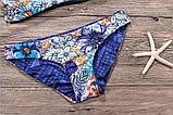 Купальник жіночий роздільний двосторонній хай-нек з квітковим принтом, розмір М, фото 10