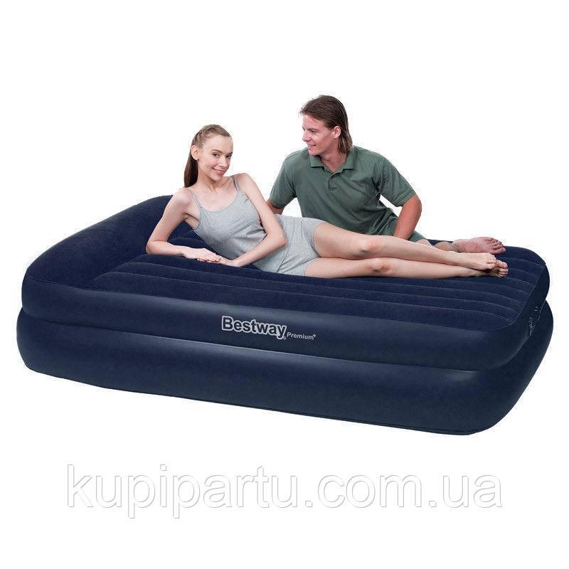 67403 BW, BestWay, Надувна ліжко Premium Air Bed - Air Pump(Queen) 203х152х46 см з вбудованим насосом
