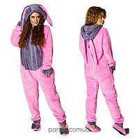 Плюшевая пижама комбинезон Кигуруми (р.42-46) махра розовый