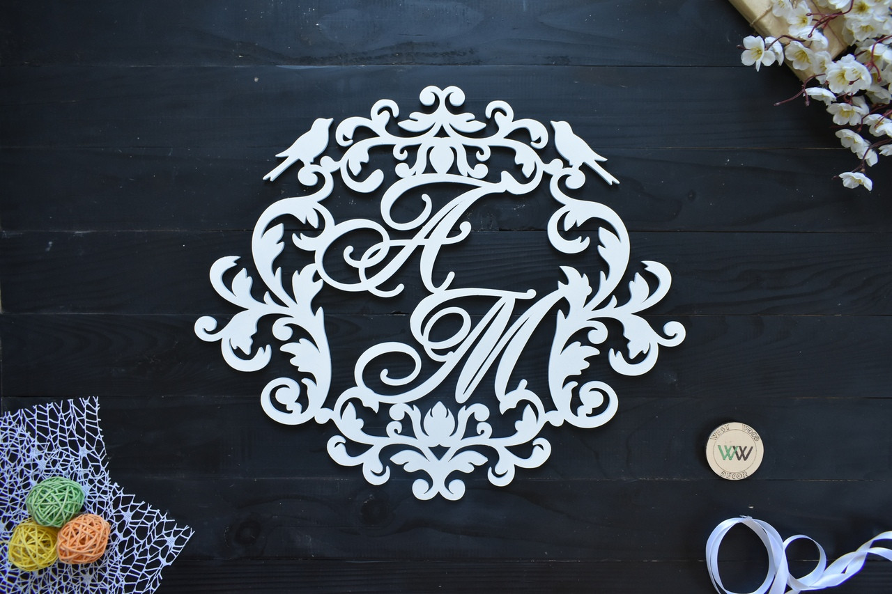 Весільний герб, монограма з ініціалами, з пташками, ініціали молодих, об'ємні букви на весілля