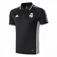 Футбольная футболка поло Реал Мадрид черная, сезон 19/20