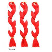 Двухцветная однотонная канекалоновая коса - красный + чистый белый. Длинна в косе 60 см. #Термостойкая.