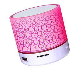 Колонка mini портативна GETIHU світлодіодна з TF, USB FM Рожевий