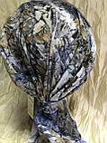Серая с бежевым летняя  бандана-косынка хлопковая с объёмной драпировкой, фото 7