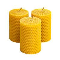 Набір воскових свічок, набір з трьох круглих свічок з натурального воску 8.5×6 см